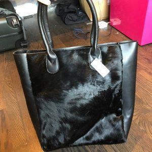 Inzi Cowhide/Leather Tote/Laptop Bag w/ Zip Pocket